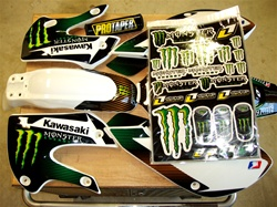 Klx 110 Kx 65 Monster Energy White10 FX Kit Free Pad and Decal sheet